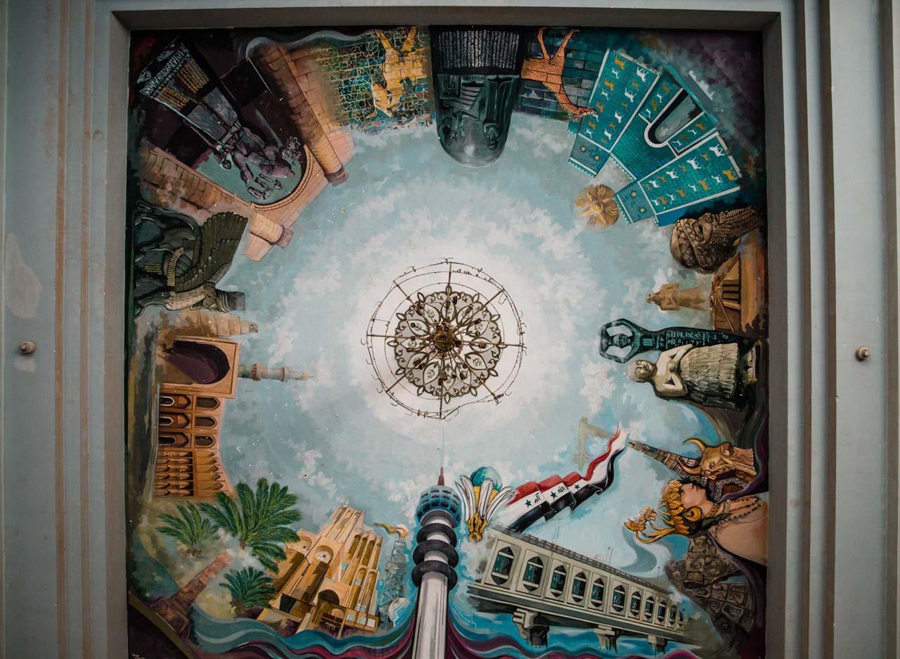 Pinturas en el Palacio de Sadam de Bagdad