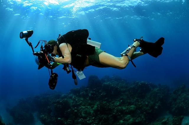 Equipo de buceo y fotografía submarina